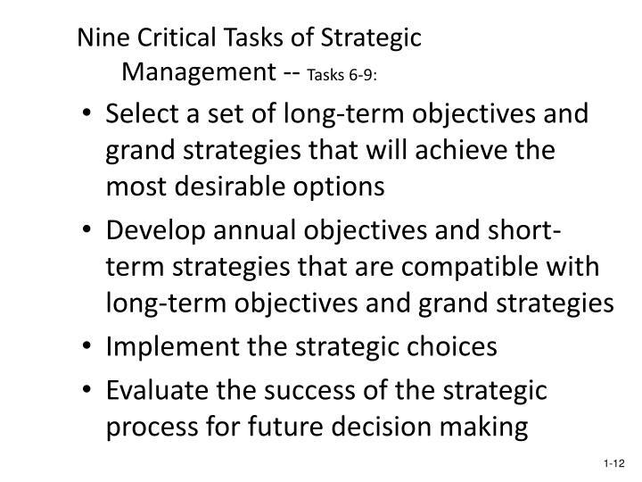 nine critical tasks of strategic management