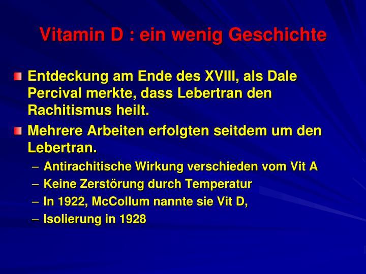 Vitamin d ein wenig geschichte
