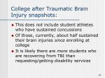 college after traumatic brain injury snapshots