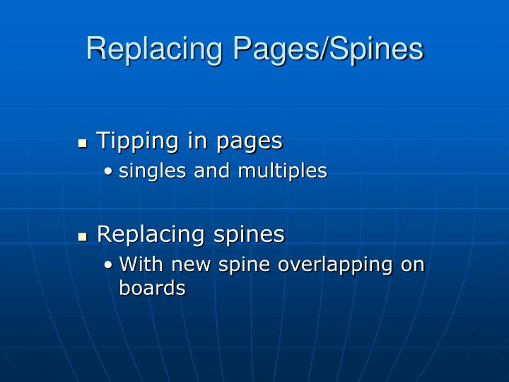 Replacing Pages/Spines