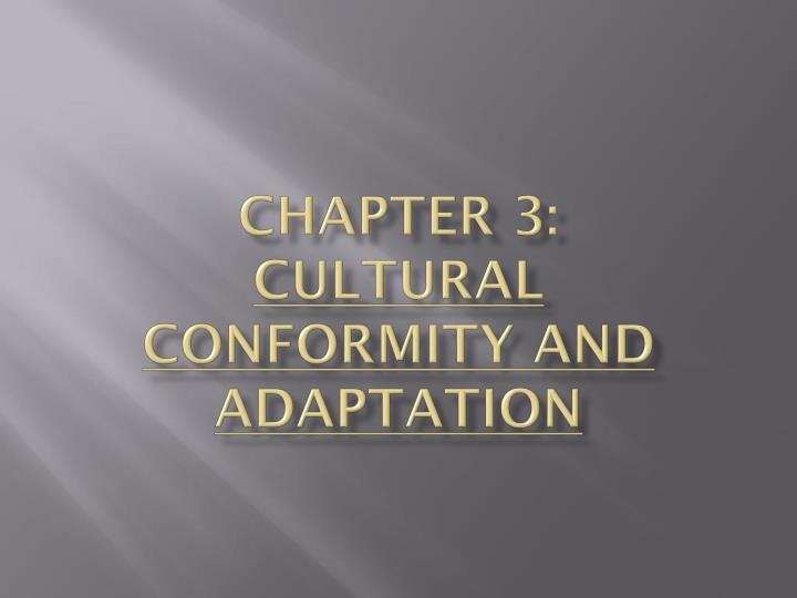 chapter 3 cultural conformity and adaptation n.