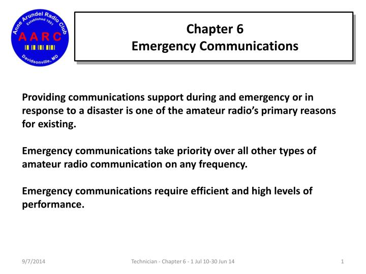 PPT - Chapter 6 Emergency Communications PowerPoint