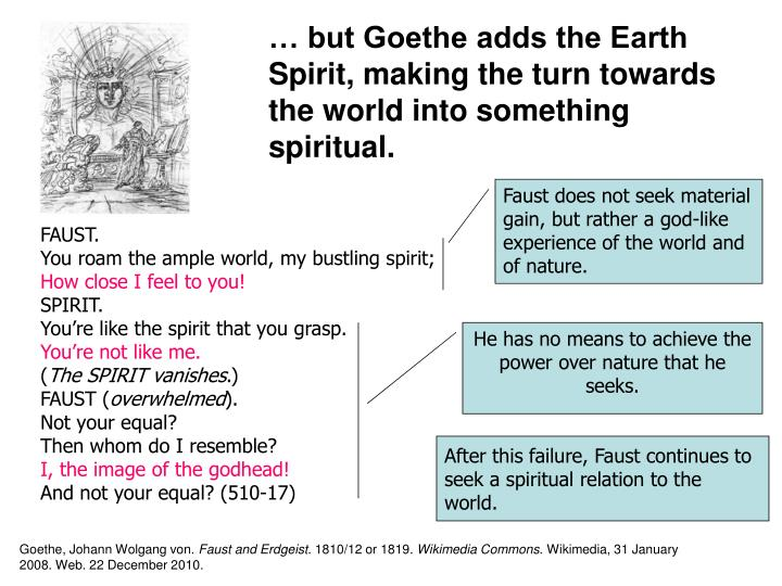 … but Goethe adds the Earth Spirit, making the turn towards the world into something spiritual.