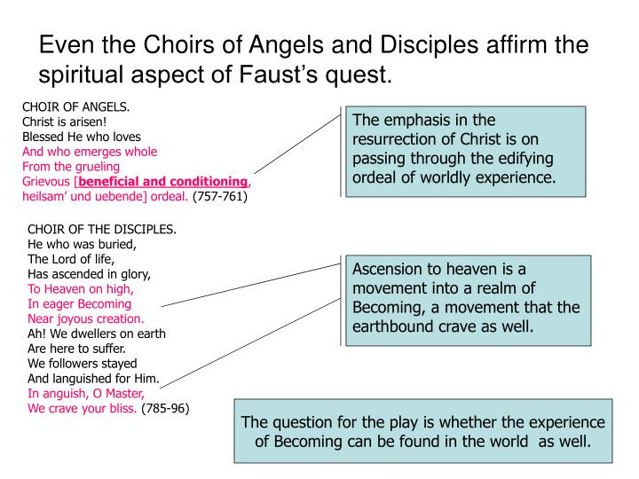 Even the Choirs of Angels and Disciples affirm the spiritual aspect of Faust's quest.