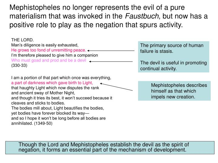 Mephistopheles no longer represents the evil of a pure materialism that was invoked in the