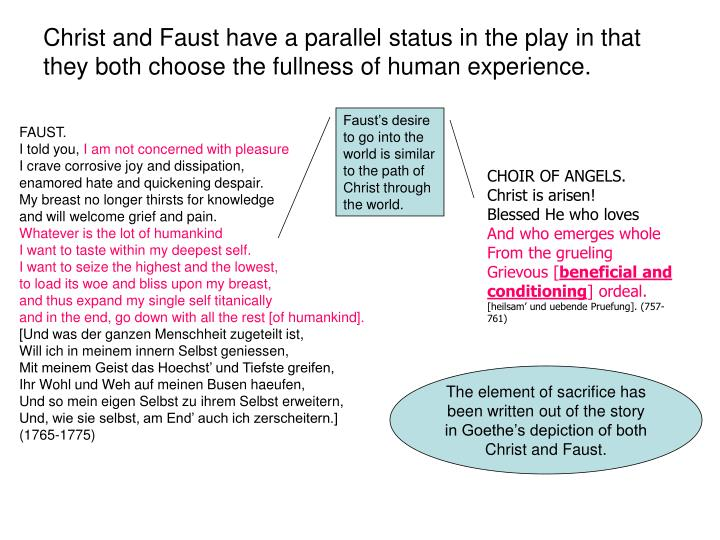 Christ and Faust have a parallel status in the play in that they both choose the fullness of human experience.