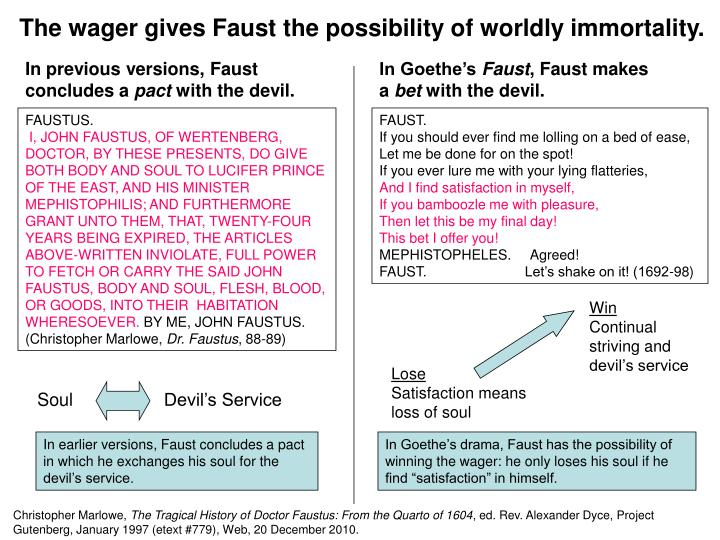 The wager gives Faust the possibility of worldly immortality.
