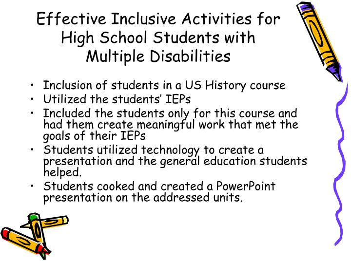 Effective Inclusive Activities for High School Students with Multiple Disabilities