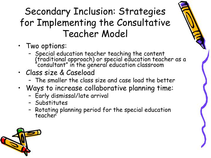 Secondary Inclusion: Strategies for Implementing the Consultative Teacher Model