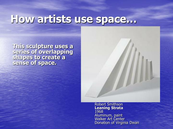 This sculpture uses a series of overlapping shapes to create a sense of space.