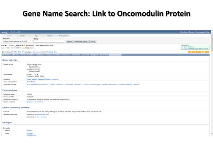 Gene Name Search: Link to