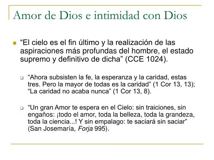 Amor de Dios e intimidad con Dios