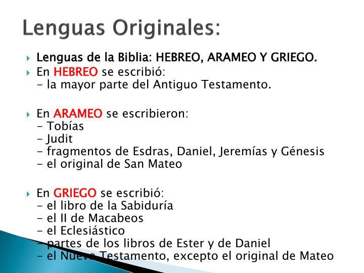 Lenguas Originales:
