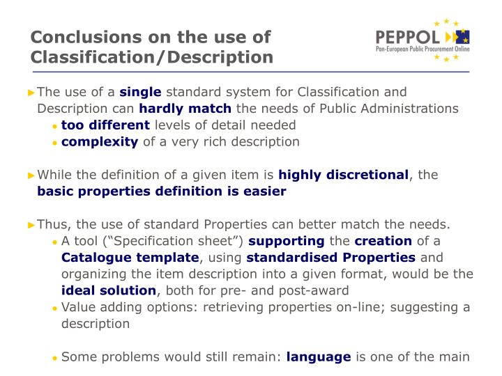 Conclusions on the use of Classification/Description