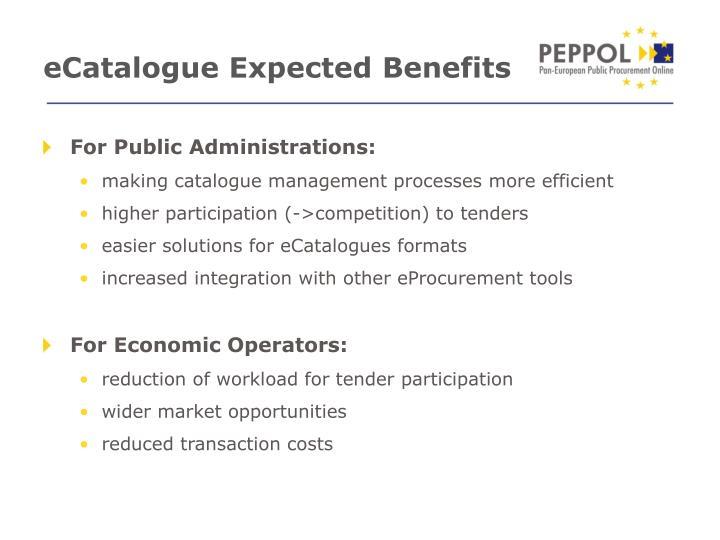eCatalogue Expected Benefits