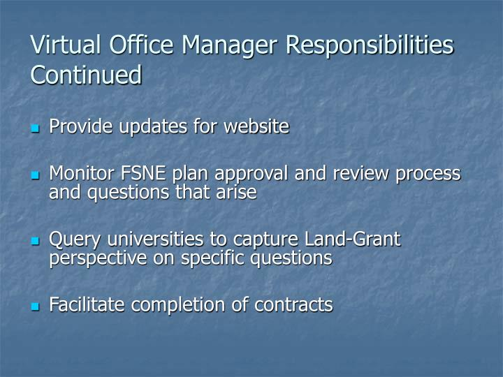 Virtual Office Manager Responsibilities Continued