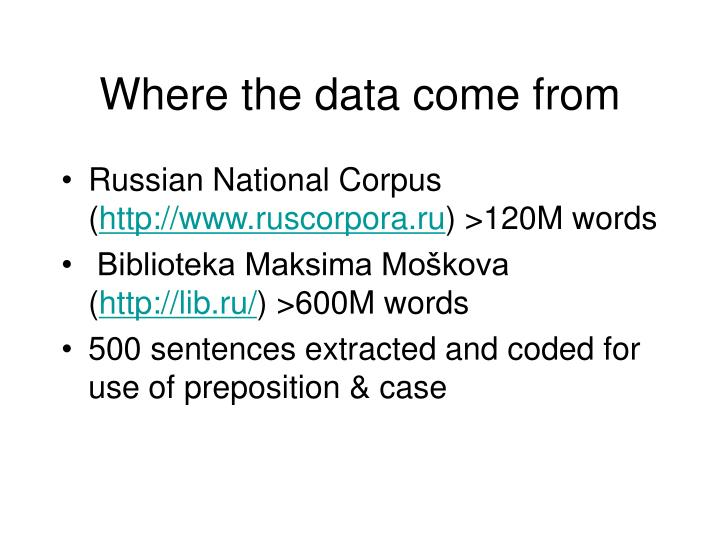 Where the data come from