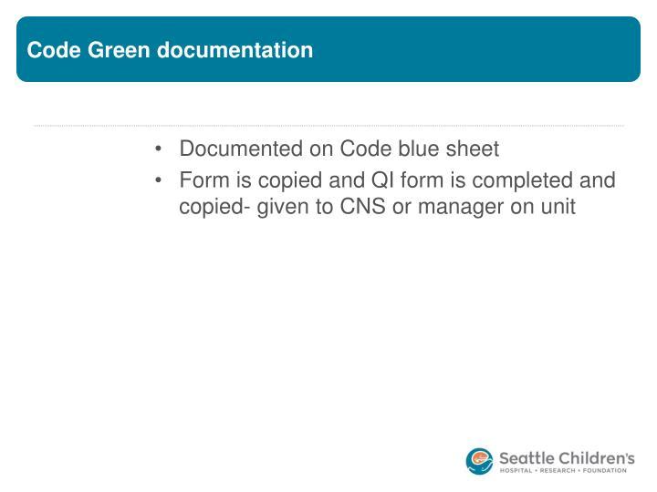 Code Green documentation