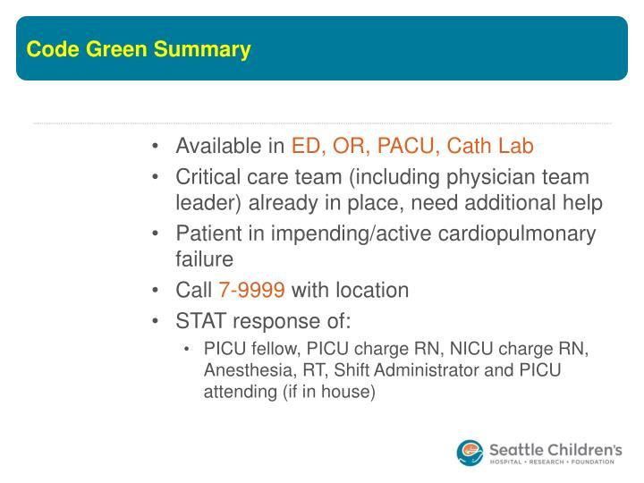 Code Green Summary