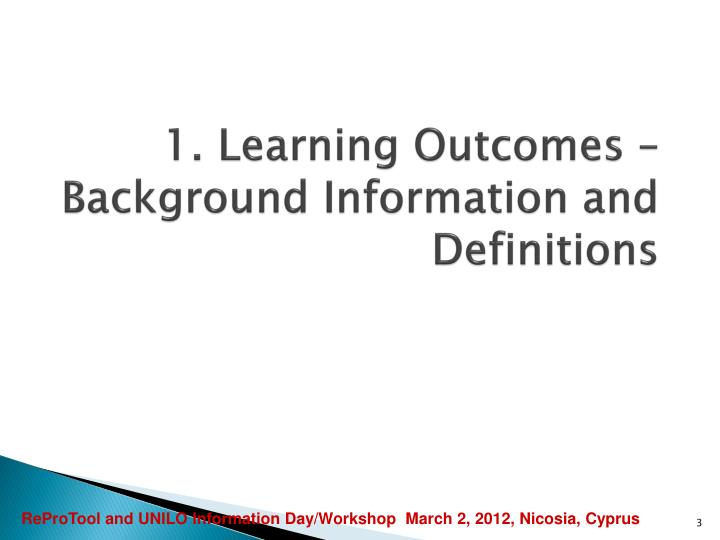 1 learning outcomes background information and definitions