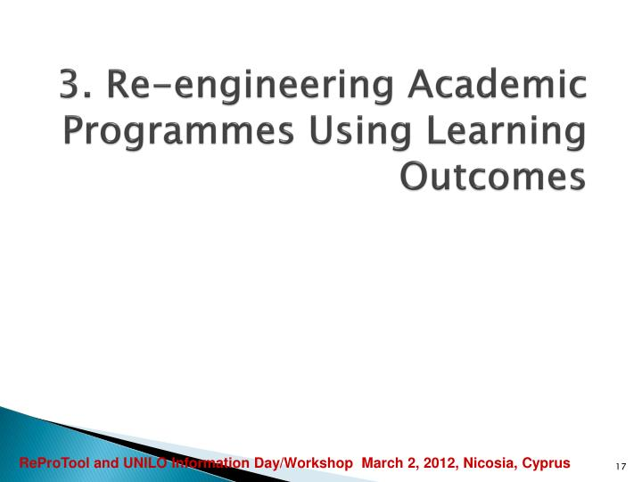 3. Re-engineering Academic Programmes Using Learning Outcomes