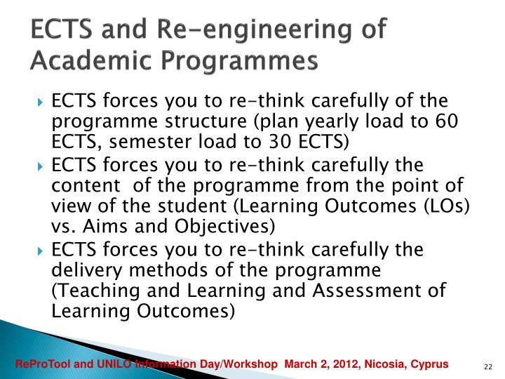 ECTS and Re-engineering of Academic Programmes