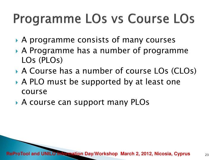 Programme LOs vs Course LOs