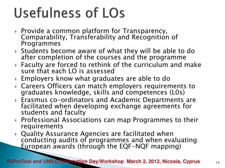 Usefulness of LOs