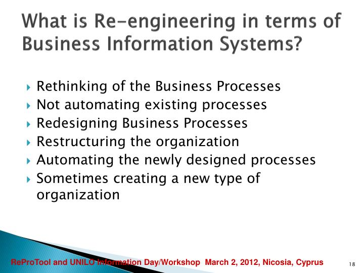 What is Re-engineering in terms of Business Information Systems?