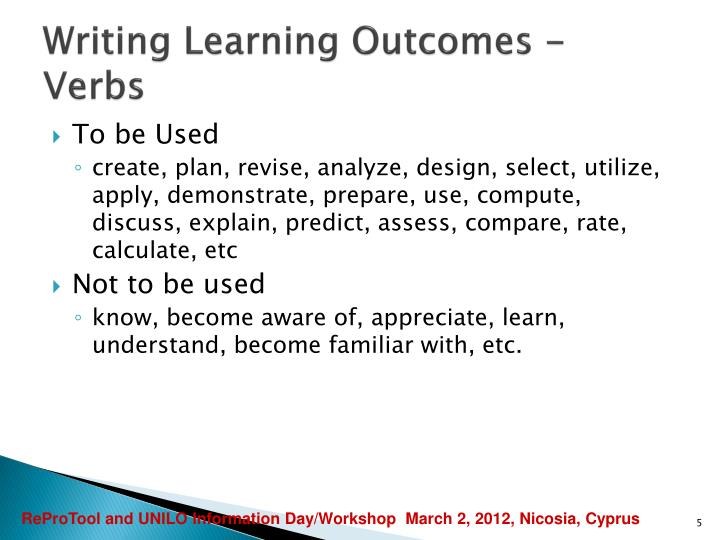 Writing Learning Outcomes - Verbs