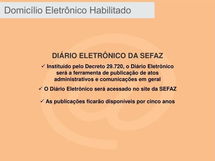 DIÁRIO ELETRÔNICO DA SEFAZ