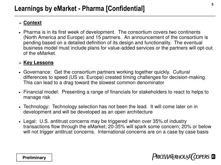 Learnings by eMarket - Pharma [Confidential]