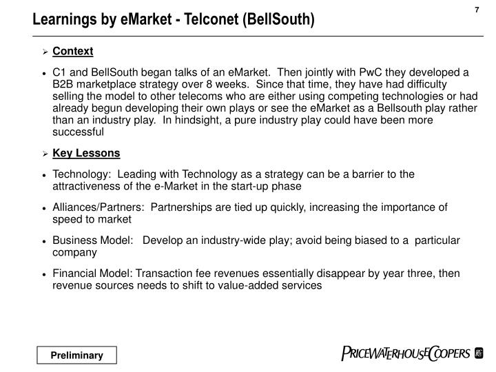 Learnings by eMarket - Telconet (BellSouth)
