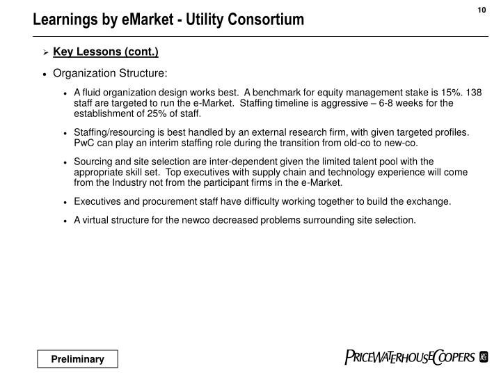 Learnings by eMarket - Utility Consortium