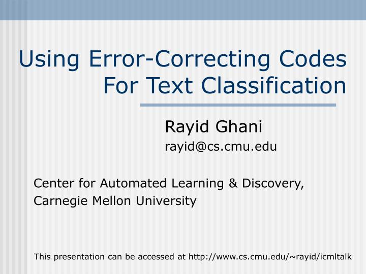 using error correcting codes for text classification n.