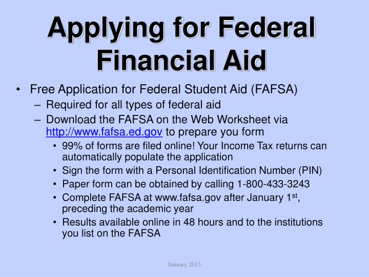 Applying for Federal Financial Aid