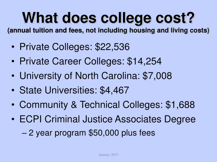 What does college cost annual tuition and fees not including housing and living costs
