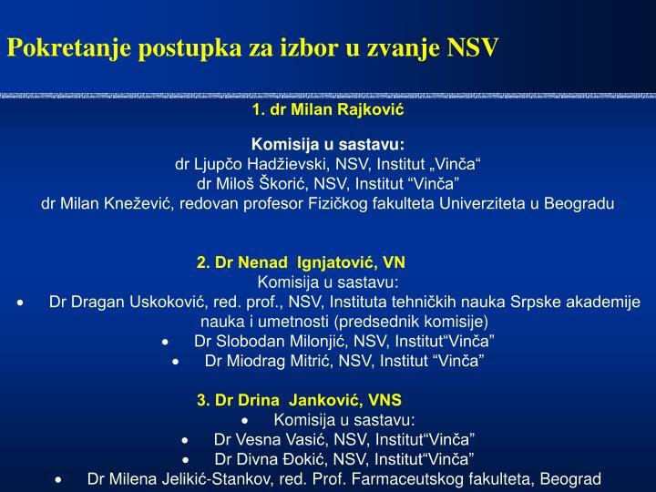 Pokretanje postupka za izbor u zvanje NSV