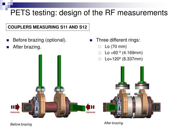 PETS testing: design of the RF measurements
