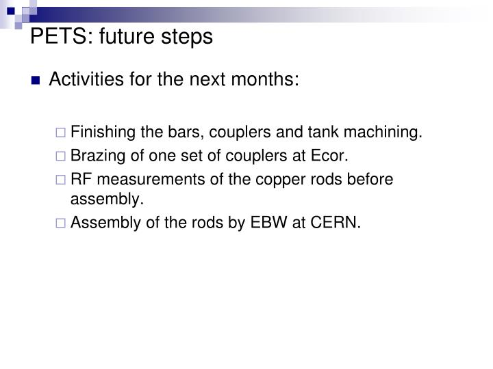 PETS: future steps