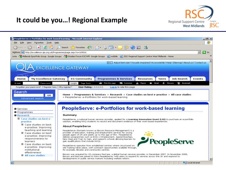 It could be you…! Regional Example