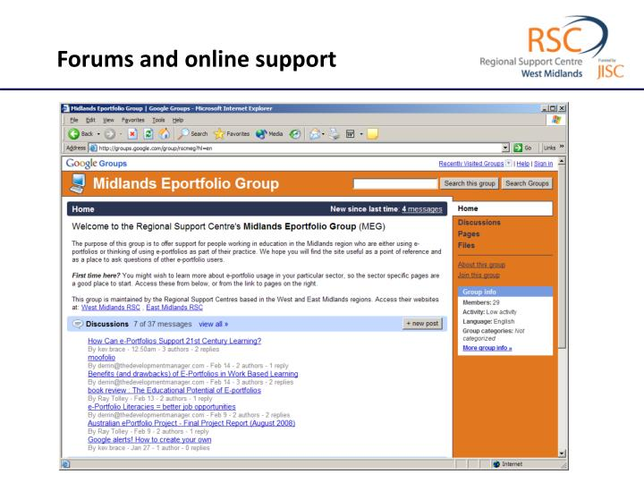 Forums and online support