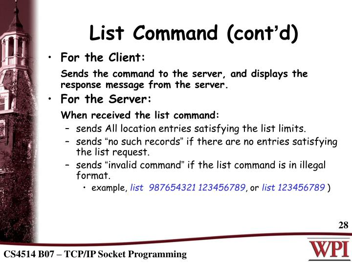 List Command (cont