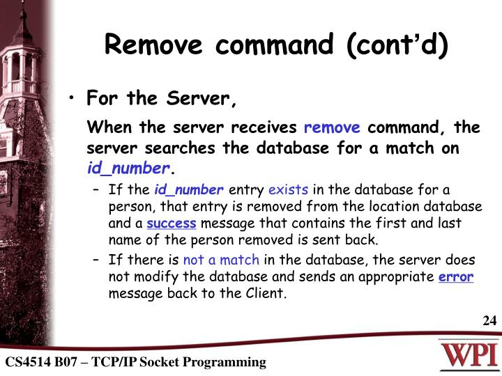 Remove command (cont