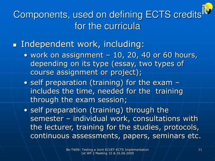 Components, used on defining ECTS credits for the curricula