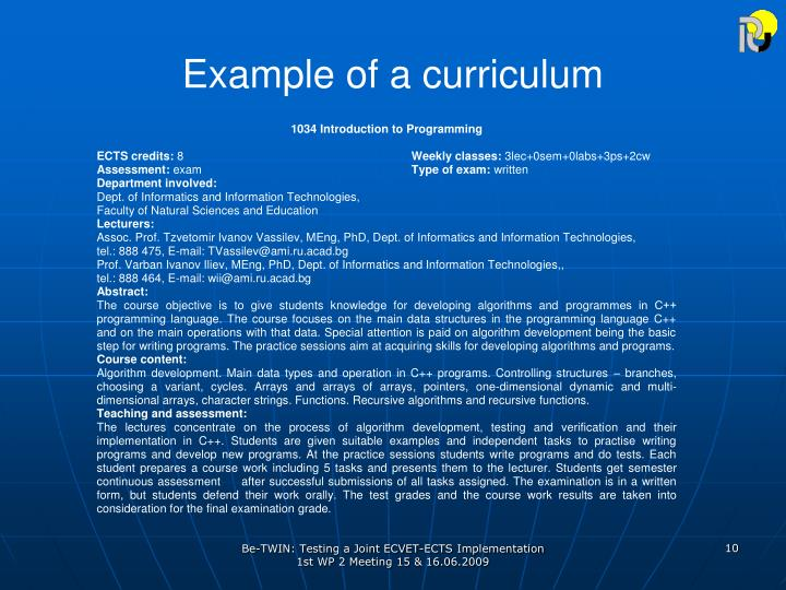 Example of a curriculum