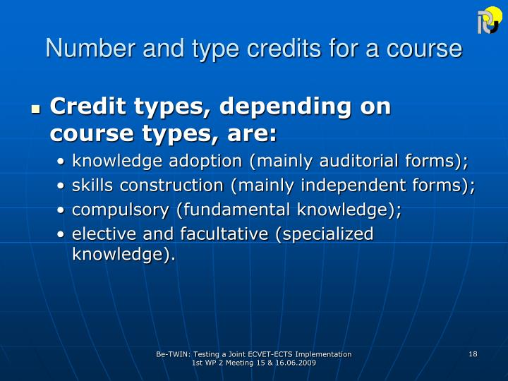 Number and type credits for a course