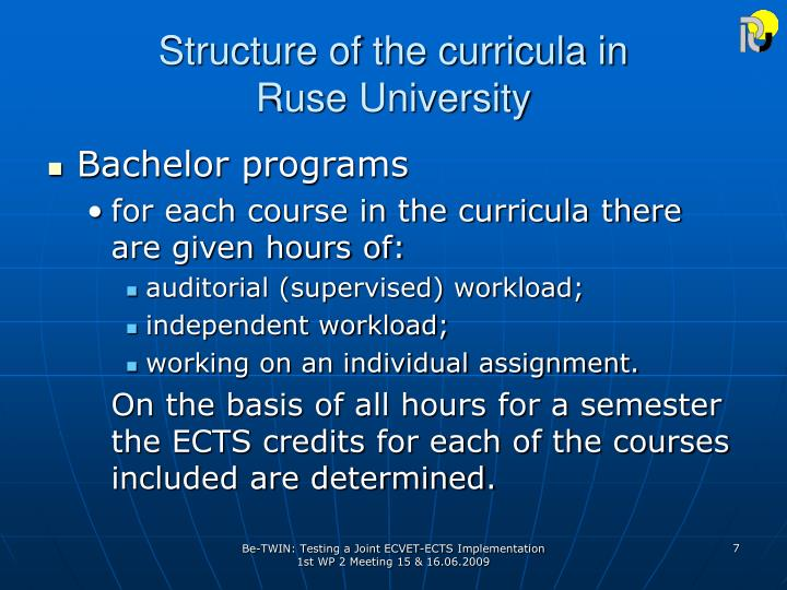Structure of the curricula in