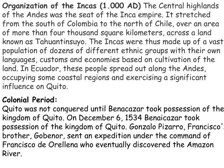 Organization of the Incas (1.000 AD)