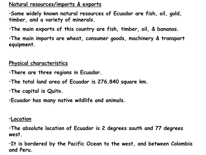 Natural resources/imports & exports